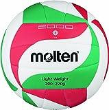 Molten V5M2000-L, Pallone da pallavolo, colore: Bianco/Verde/Rosso