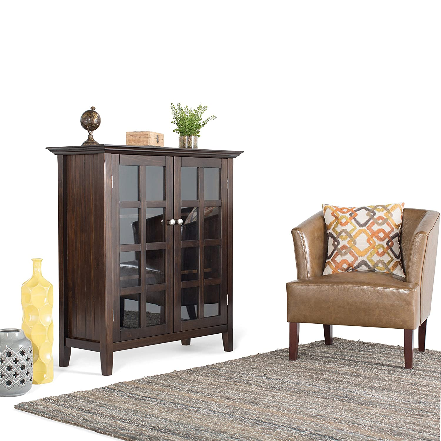 Amazon.com: Simpli Home Acadian Solid Wood Medium Storage Cabinet, Rich  Tobacco Brown: Kitchen U0026 Dining