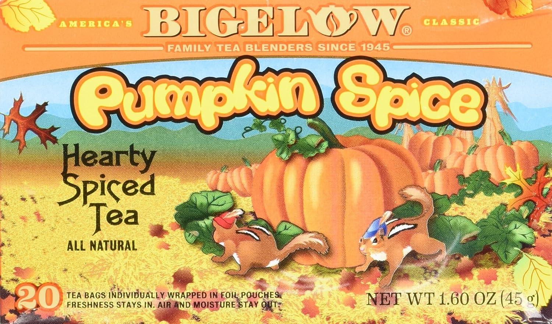 Amazon.com : Bigelow Pumpkin Spice Tea, 20 Bags (Pack of 3) : Black Teas :  Grocery & Gourmet Food