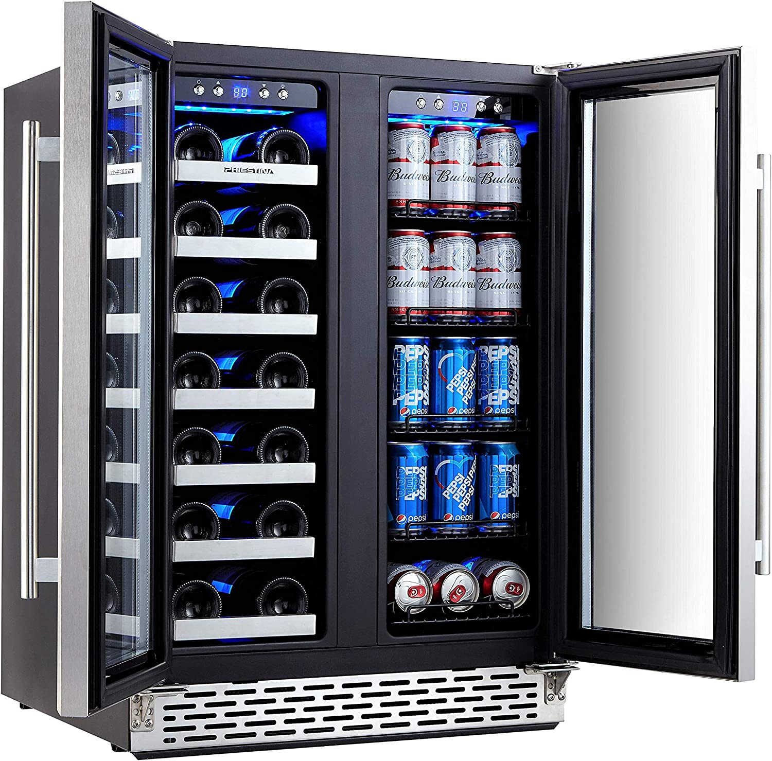 Phiestina Wine and Beverage Refrigerator | 24 Inch Built-In Dual Zone Wine Beer Cooler Refrigerator | Free Standing French Door Drink Fridge with Digital...
