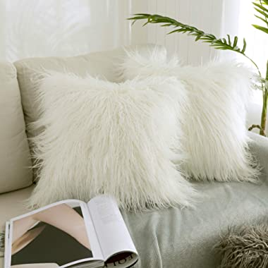 Kevin Textile Set of 2 Decorative New Luxury Series Merino Style Off-White Fur Throw Pillow Case Cushion Cover Pillow Covers for Bed (18  x 18  45cm x 45cm)