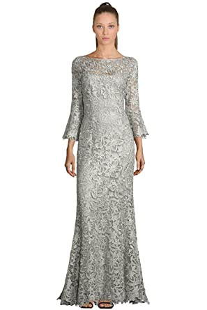 Teri Jon Lace Bell Sleeve Evening Gown Dress