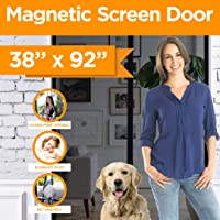 HoneyBull Magnetic Screen Door [Size: 38 x 82 Inches MAX] HeavyDuty Tough Fiberglass Mesh Curtain with Enhanced Magnets [Closes Automatically] No Bugs - Easy Install Hook & Loops