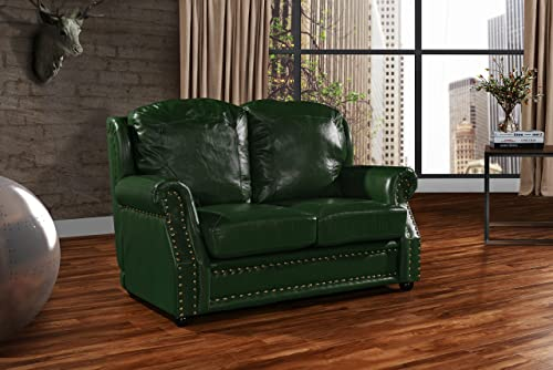 Leather Match Sofa 2 Seater, Living Room Couch Loveseat with Nailhead Trim Green