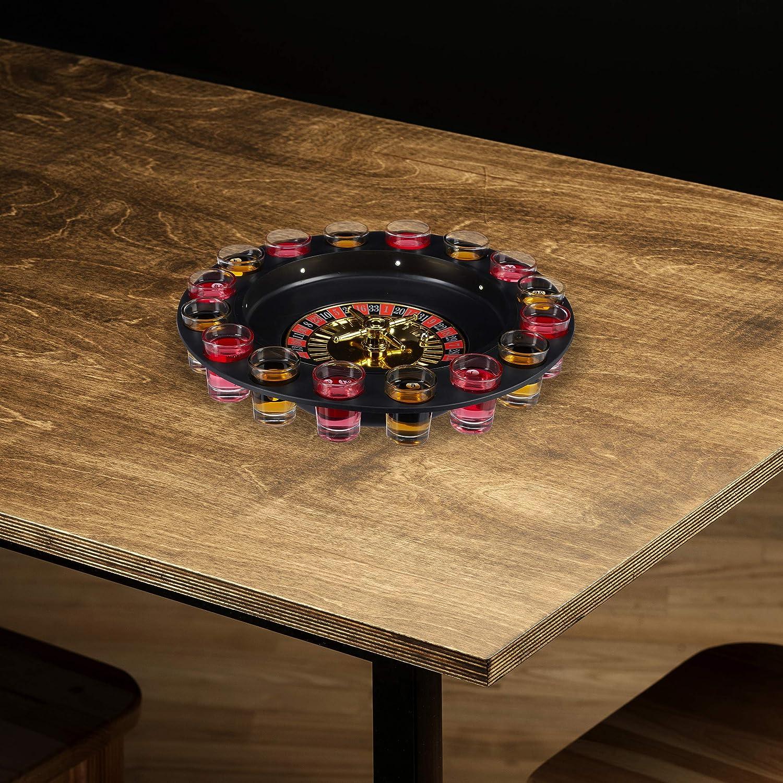Relaxdays Ruleta de Chupitos, Juego para Beber, Shot Roulette, 16 Vasos, 7,5 x 30 cm, Plástico-Cristal, Rojo-Negro, Color (10024095): Amazon.es: Juguetes y juegos