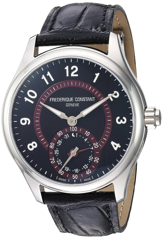 Frederique Constant Men s Horological Smart Watch Stainless Steel Swiss-Quartz Leather Calfskin Strap, Black, 20 Model FC-285BBR5B6