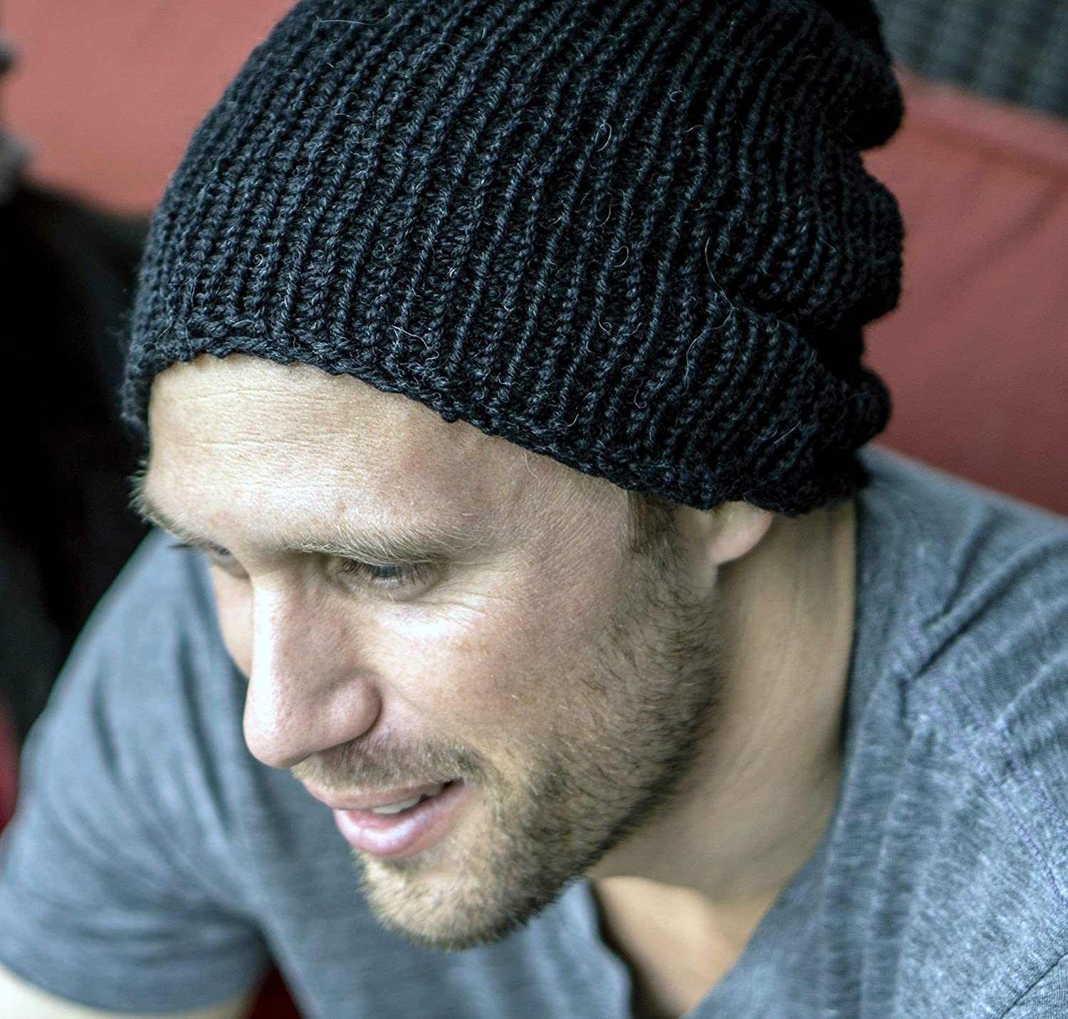 Mens Handmade Black Alpaca and Silk Slouchy Beanie Hat