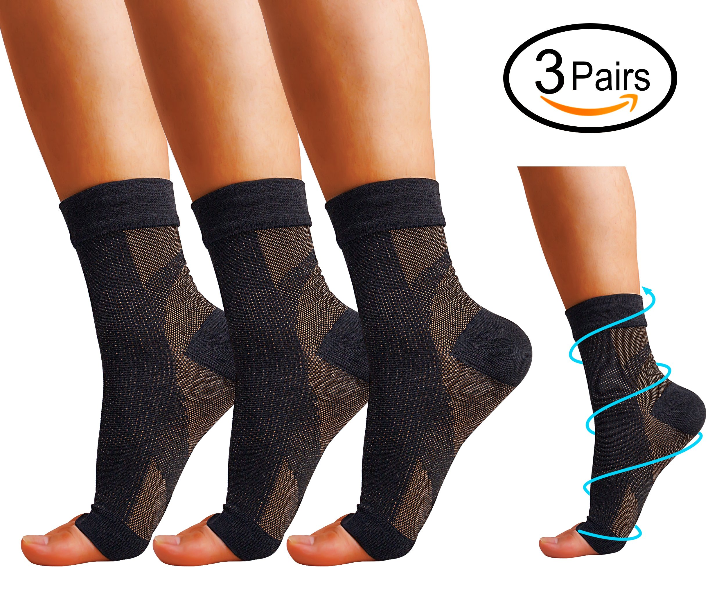 Plantar Fasciitis Compression Socks, 3 Pairs Copper Compression Foot Sleeves for Men Women - Best Plantar Fasciitis Brace for Pain Relief, Heel Pain, Best Treatment with Arch Support.