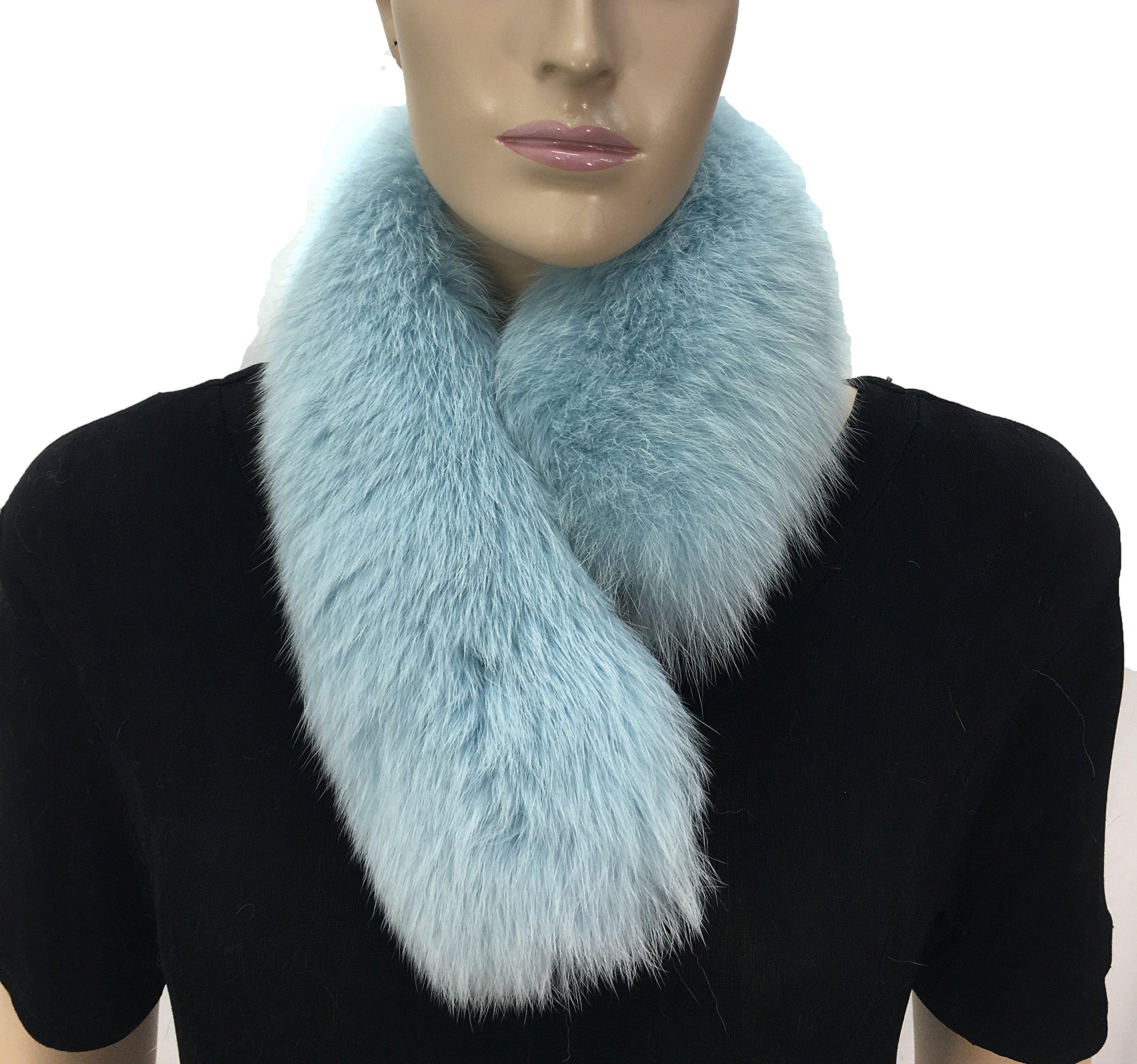 HIMA 100% Real Fox Fur Headband (Light Blue)