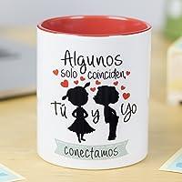 La Mente es Maravillosa - Taza con frase de amor y dibujo romántico (Algunos coinciden, tú y yo conectamos) Regalo para…