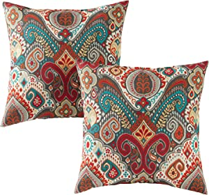 Greendale Home Fashions Set of 2 Outdoor 17-inch Square Throw Pillows, Painted Desert