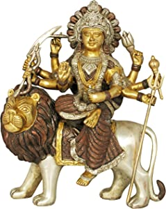 Exotic India Mother Goddess Durga Seated on Lion - Brass Statue - Color Amazing Brown Silver Gold Color