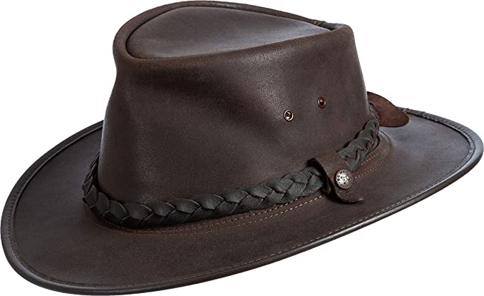 3d39c381d84 Overland Sheepskin Co Traveler Crushable Leather Outback Hat Dark Chocolate