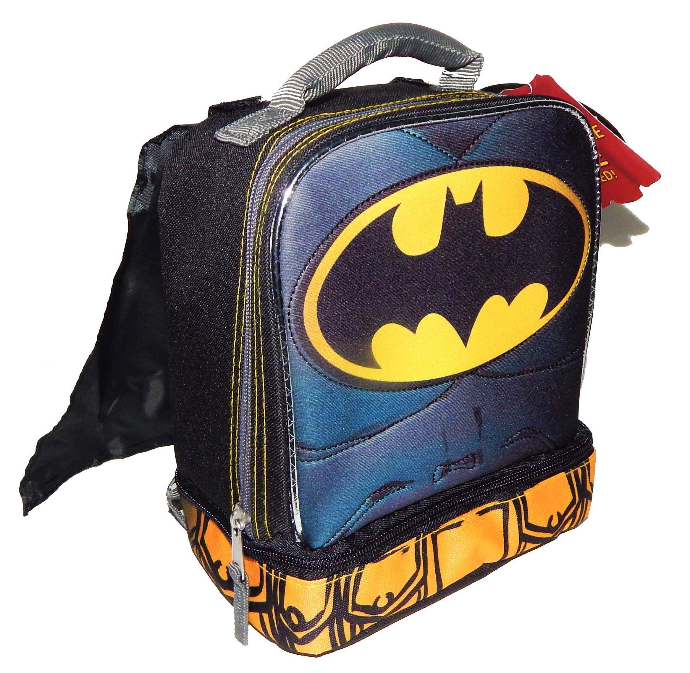 BATMAN DC COMICS Lead Safe Dual Chamber Insulated Lunch Tote Bag Box w/Cape