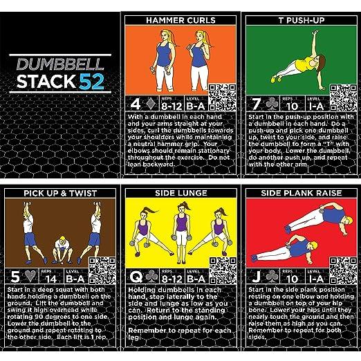Tarjetas de ejercicios con mancuernas por Stack 52: Amazon.es: Deportes y aire libre