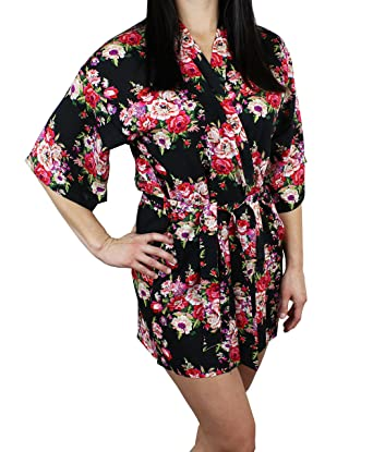 4abeda43f0 Modern Elements Women s Cotton Short Floral Robe - Bathrobe Flower ...