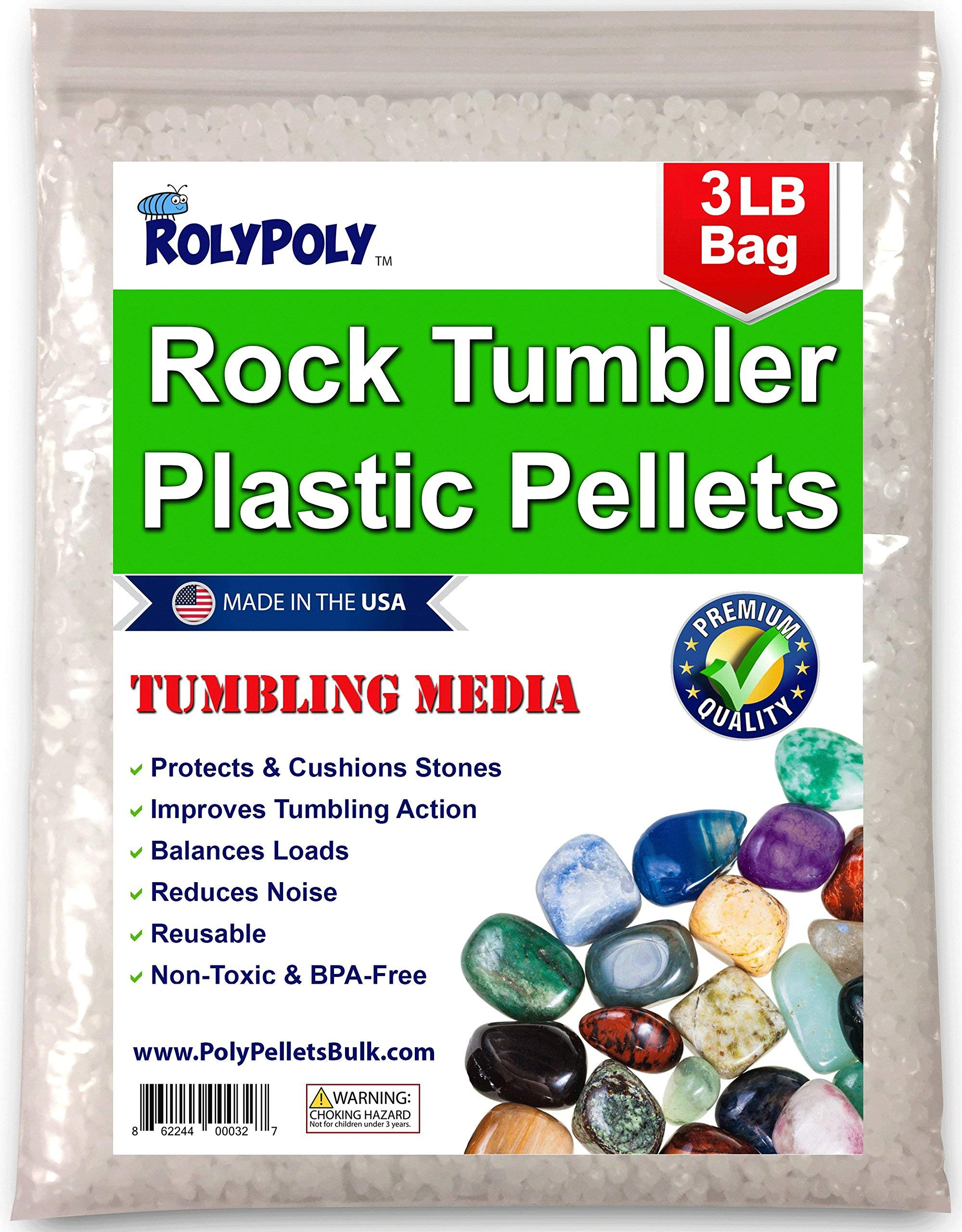 Plastic Pellets Rock Tumbling Media (3 LBS) for Rock Tumbler, Stone Tumbler, Rock Polisher, Filler Beads, Rock Tumbler Supplies in Heavy Duty Resealable Bag by Roly Poly