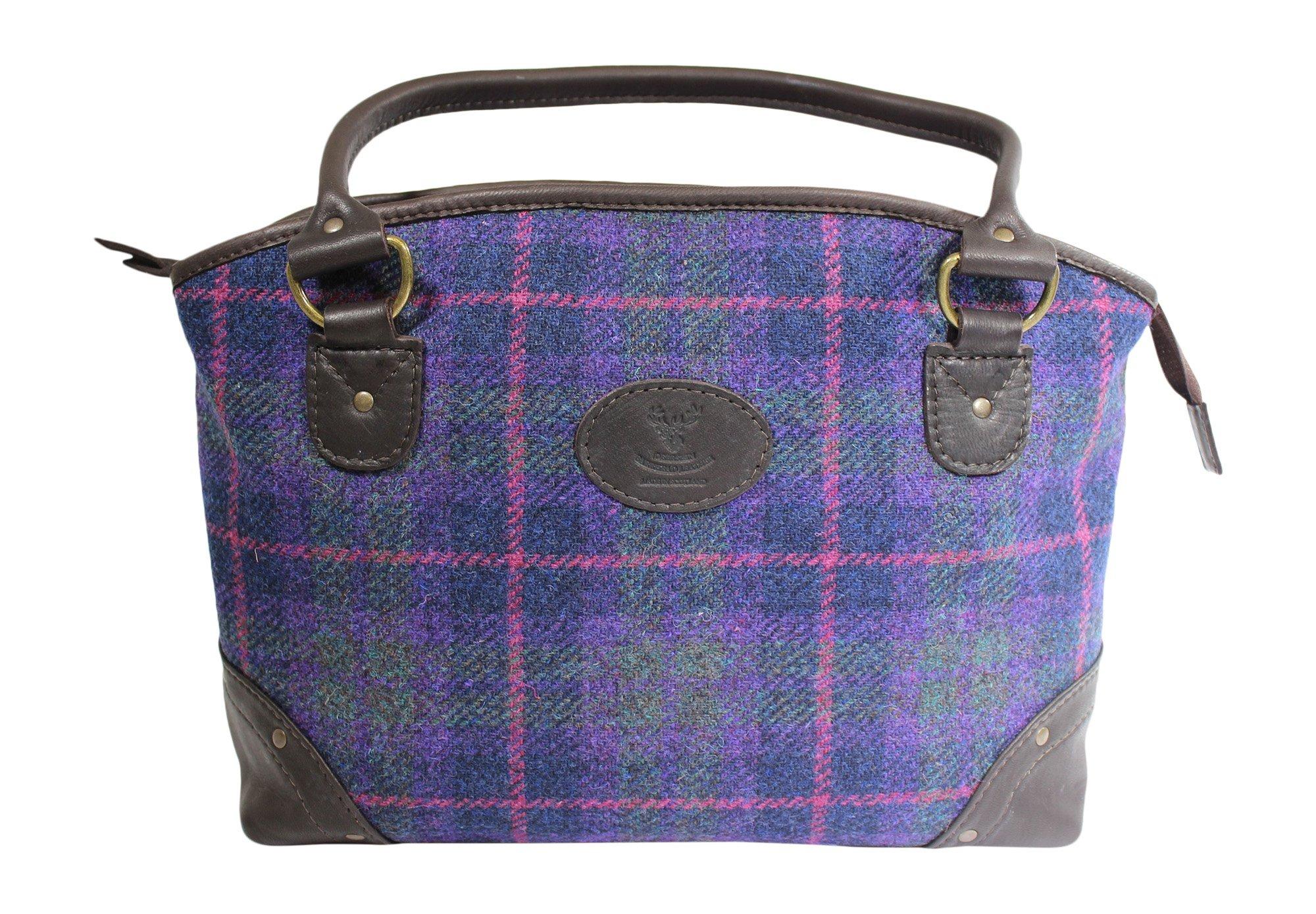 Wild Scottish Deerskin Designer Leather Purple Tartan Check Harris Tweed Large Sophie Tote Bag