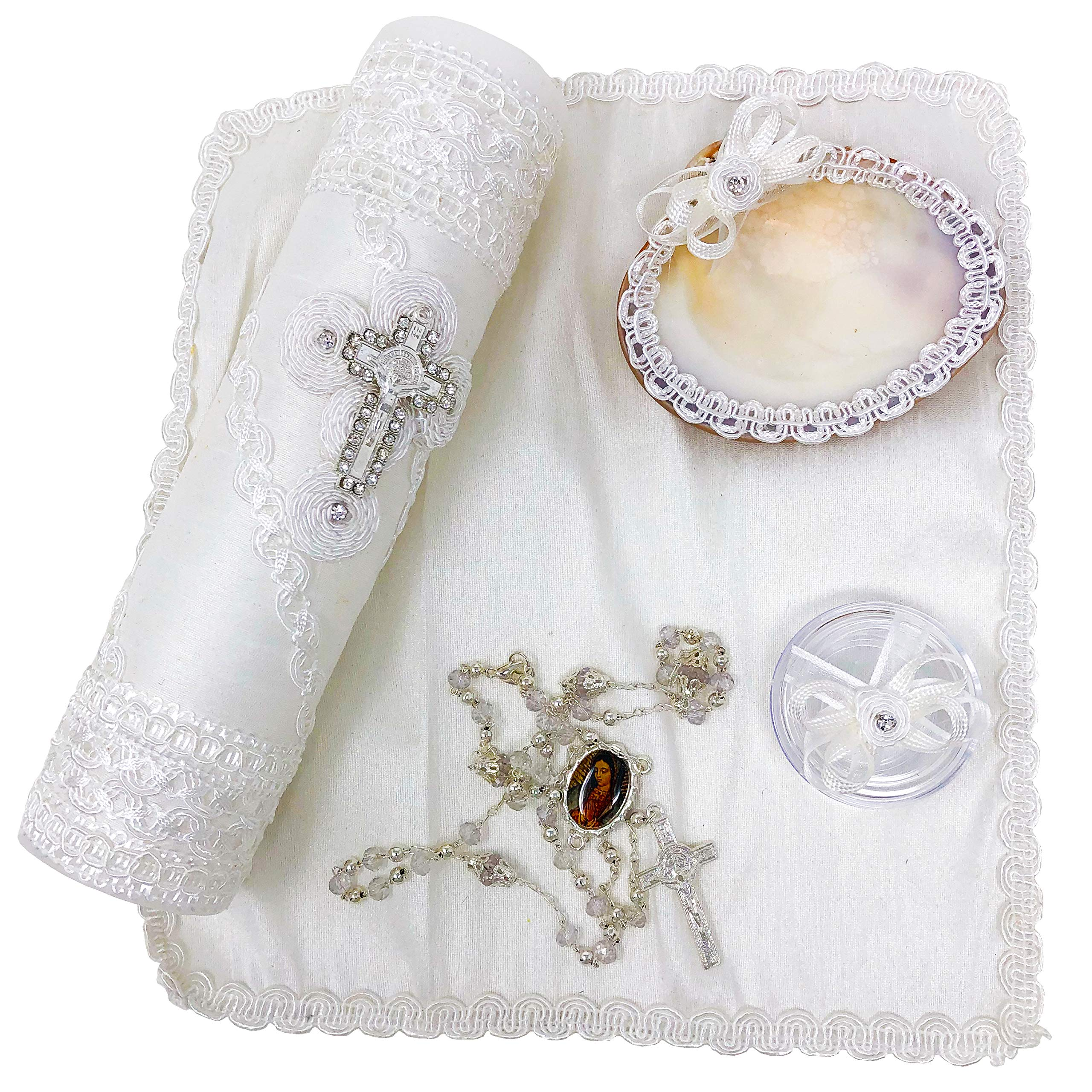 Salve Regina Hand Made Catholic Christening/Baptism Kit - Model 3, White