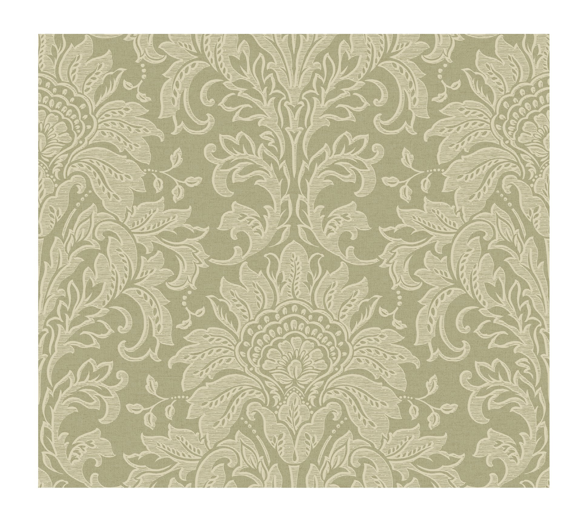 York Wallcoverings GL4611SMP Brandywine Damask 8-Inch x 10-Inch Wallpaper Memo Sample, Spa Green/Bronze/Cool Cream by York Wallcoverings
