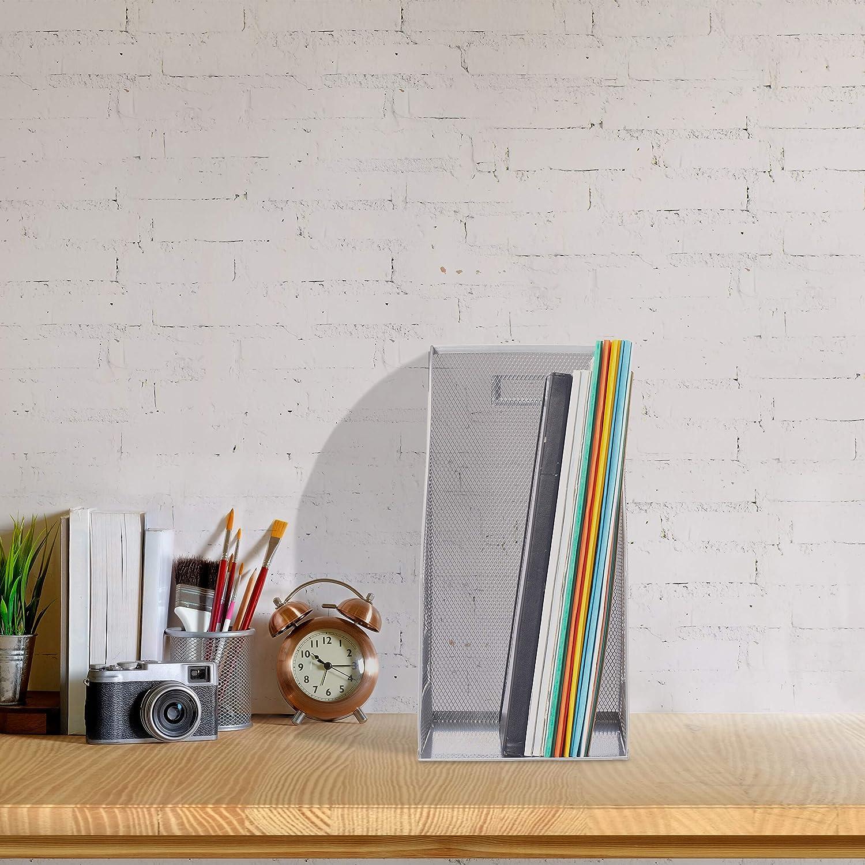 Zeitschriftensammler B/üro Stehordner breit Silber Relaxdays 4 x Stehsammler Metall Mesh DIN A4 HBT: 32 x 16 x 24,5 cm
