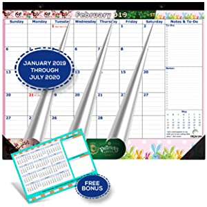 Magnetic Calendar 2019-2020 for Fridge by StriveZen, 17x12 inch, Large Monthly Jan 2019- July 2020, Strong Magnets for Refrigerator, Academic, Bonus 2019 Planner, Holiday Theme, eBook on Organizing