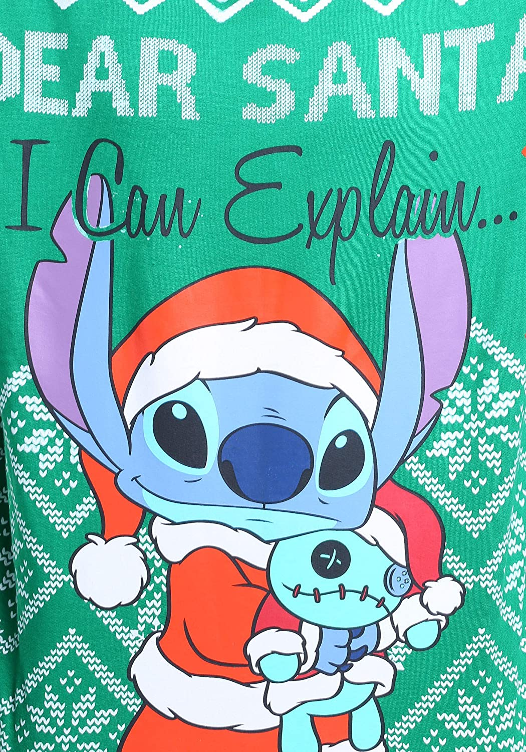 Disney Juniors Licensed Stitch Cotton Polyester All Over Printed Ugly Christmas Sweater