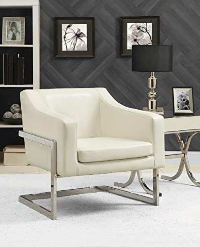 Coaster Home Furnishings Upholstered Accent Chair Off White and Chrome