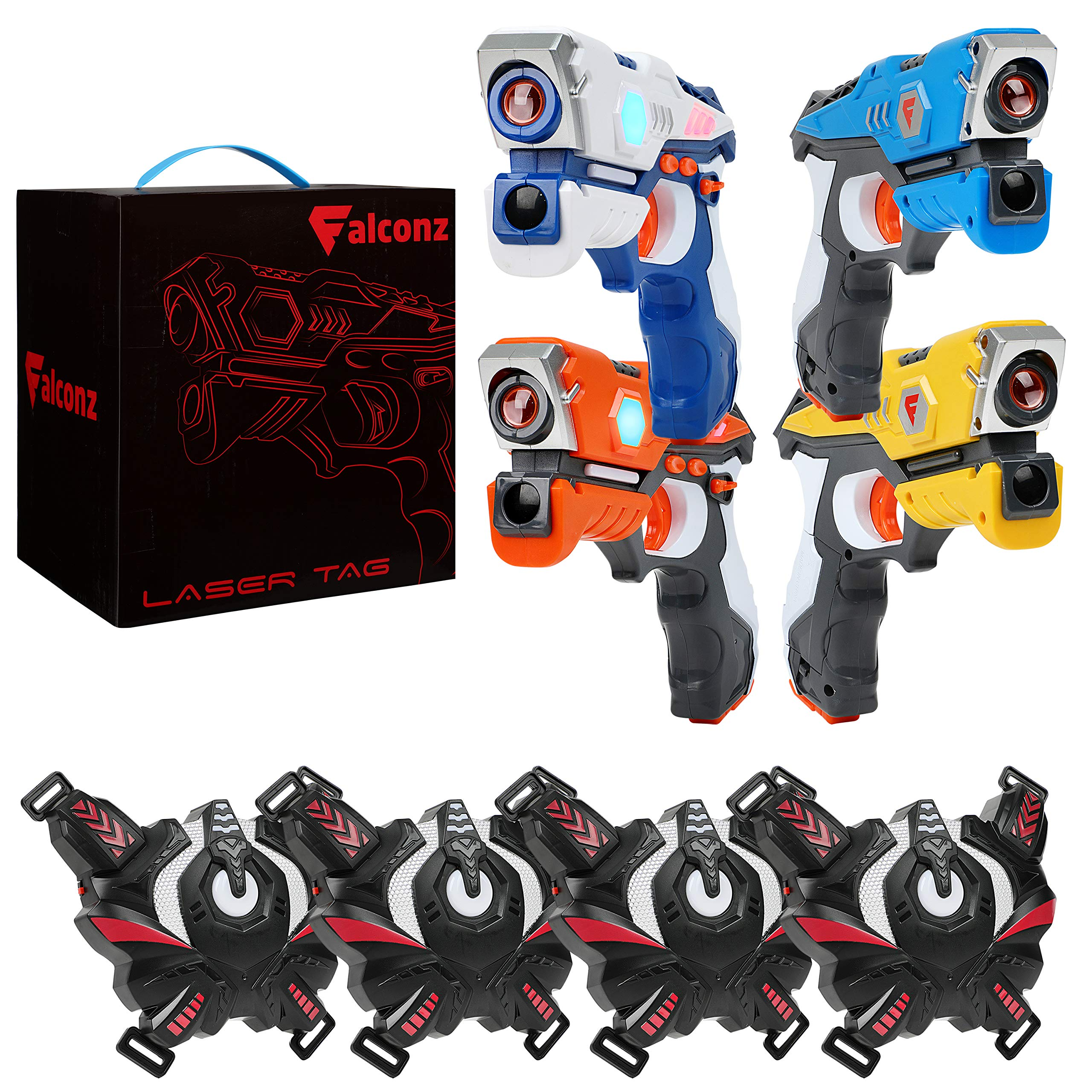 Falconz 4 Player Laser Tag Set with 4 Guns and Vests - Great Indoor or Outdoor Fun for Both Kids and Adults