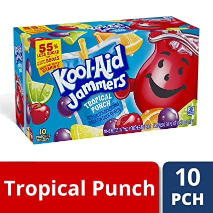 Kool-Aid Jammers Tropical Punch Soft Drink, 10 Pouches