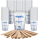 TCP Global 10 Ounce (300ml) Disposable Flexible Clear Graduated Plastic Mixing Cups - Box of 100 Cups & 50 Mixing Sticks…