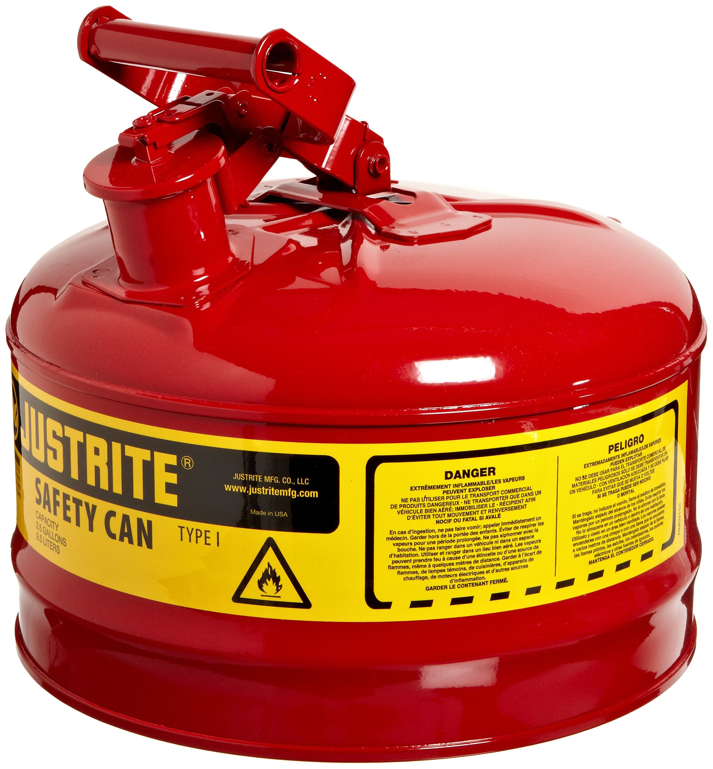 Justrite 7125100 2 Gallon, 11.75'' OD x 11.50'' H Galvanized Steel Type I Red Safety Can