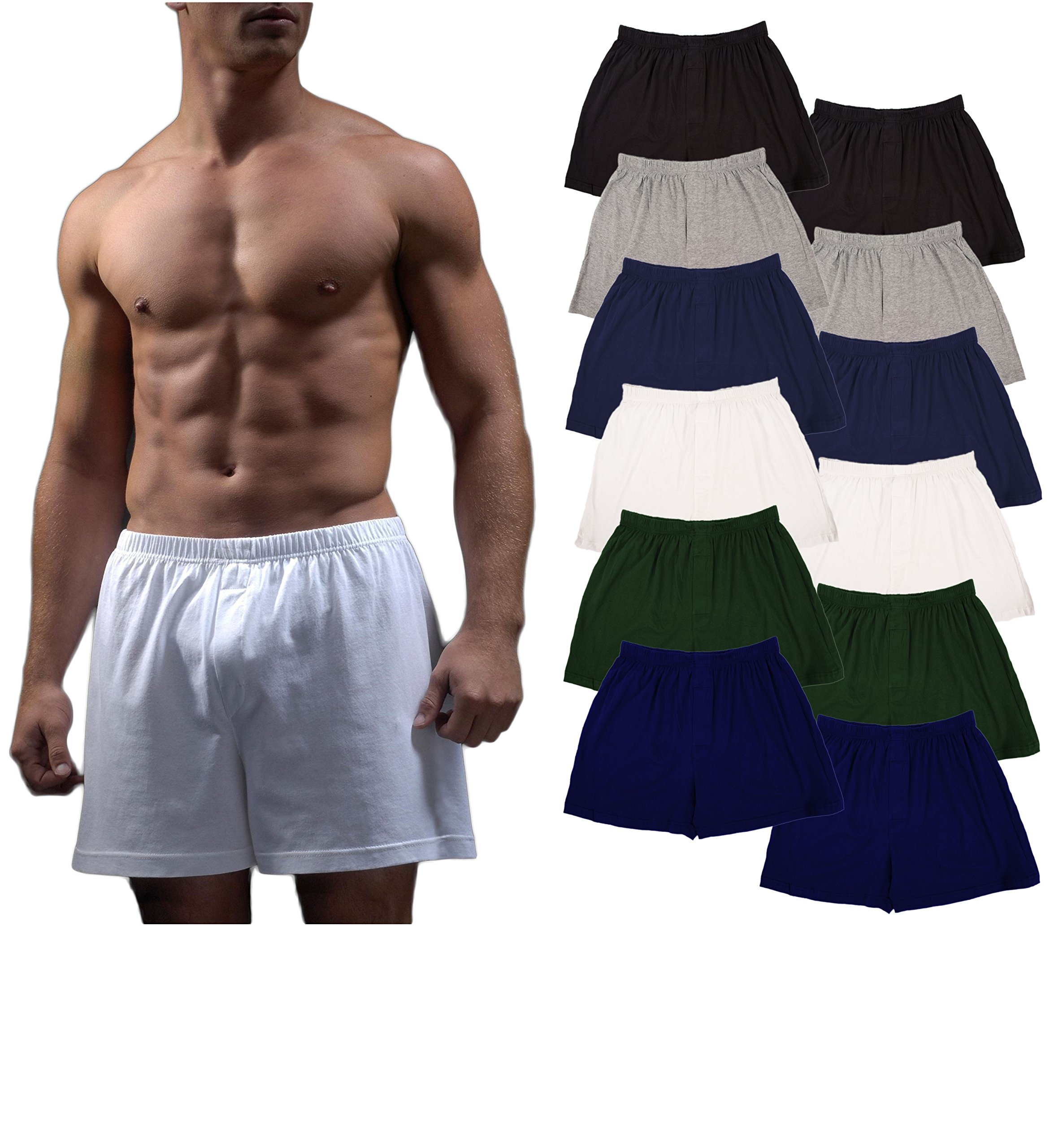 Andrew Scott Men's 12 Pack King Size Big Man Cotton Knit Sleep Boxer Shorts (12 Pack - Black/Gey/Navy/White/Hunter/Royal, 3X-Large)