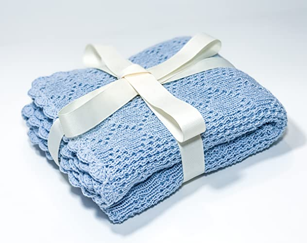 Amazon Cotton Baby Blanket Baby Blue Blanket Knit Crochet Baby