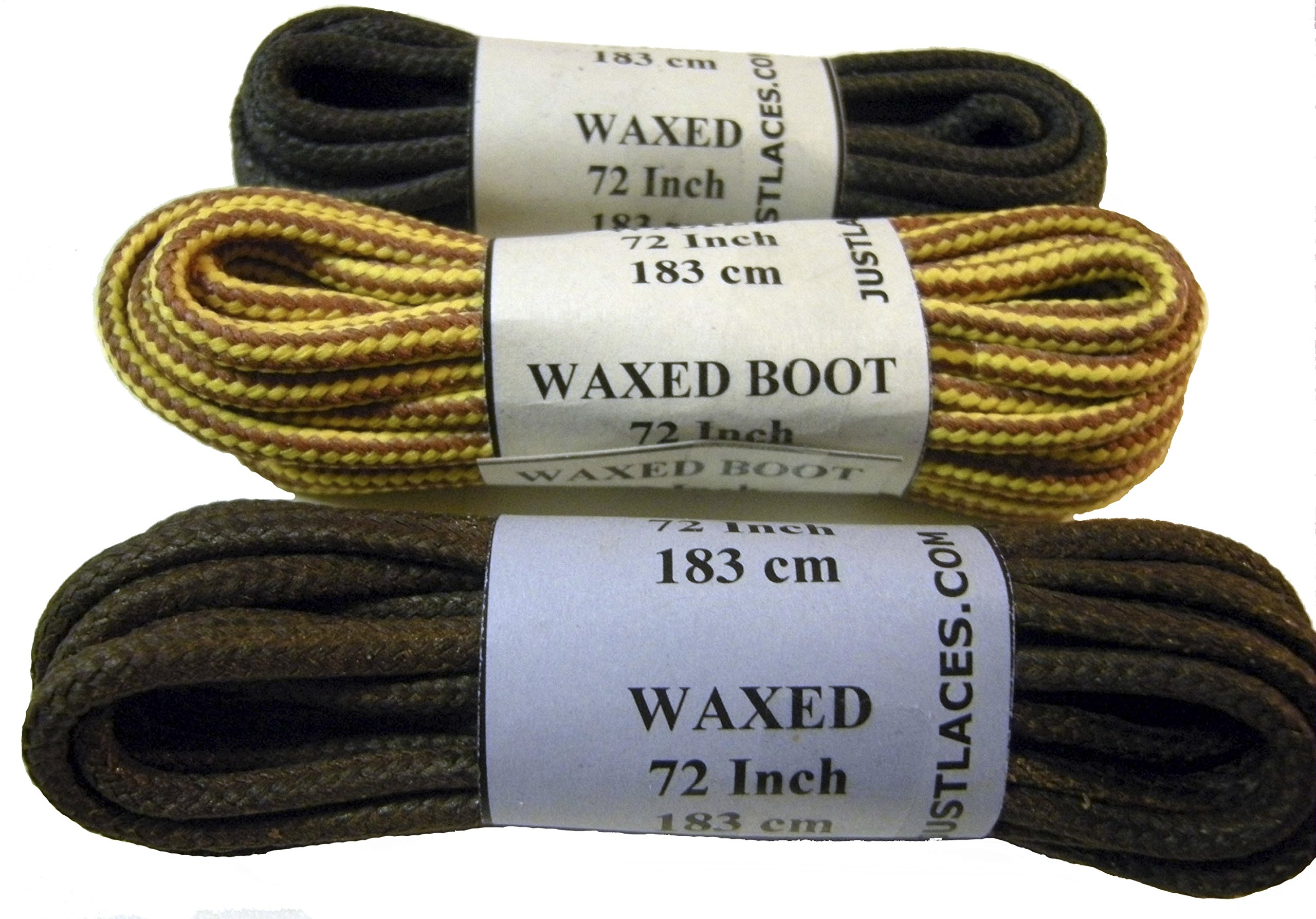 GREATLACES Waxed Heavy Duty 3 Pair Variety Pack! Polyester Boot Laces Shoelaces - 3 Pair Pack (45 inch 114 cm, Brown, Black, Gold)