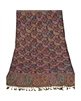 Sanskriti Pashmina Woven Viscose Jamawar Hand Embroidered Shawl Purple Stole