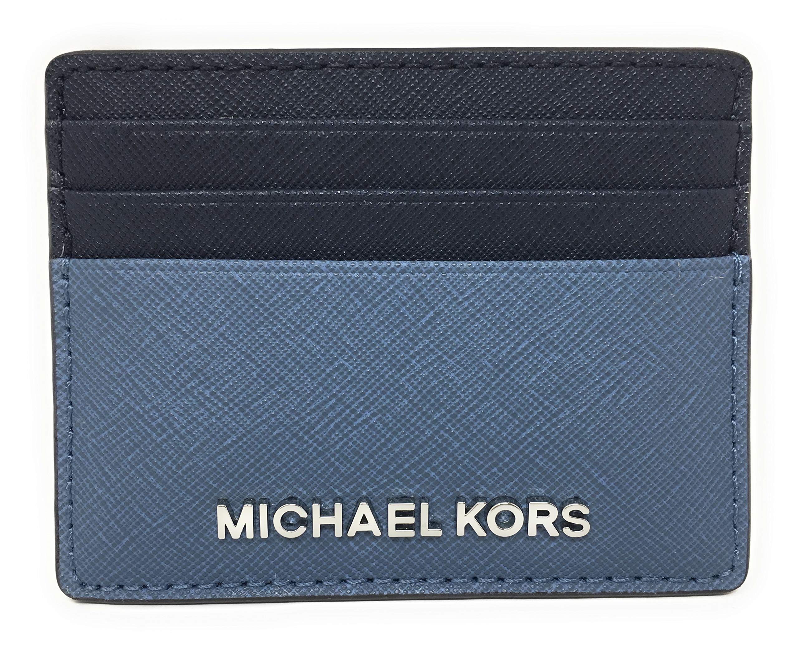 Michael Kors Jet Set Travel Large Saffiano Leather Card Holder (Denim/Navy with Silver)
