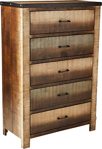 Coaster 205095-CO Sembene Collection 38 Chest with 5 Drawers Nail Head Accents Black Metal Hardware Asian Hardwood and Tropical Wood Materials In Antique Multi, Antique Multi