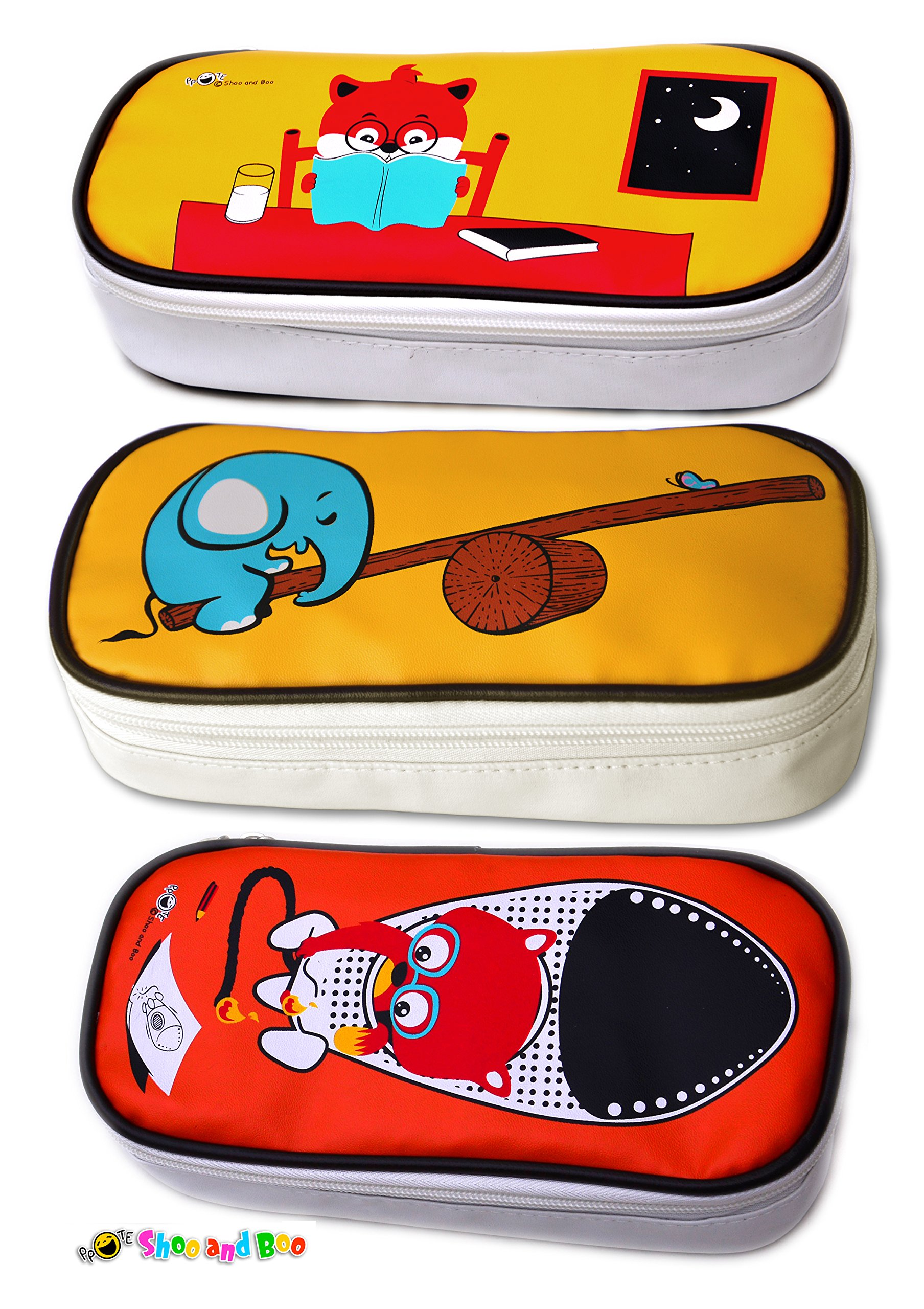 Shoo and Boo Large Stylish Pencil Case Utility Case Featuring Animals (All Three Designs)