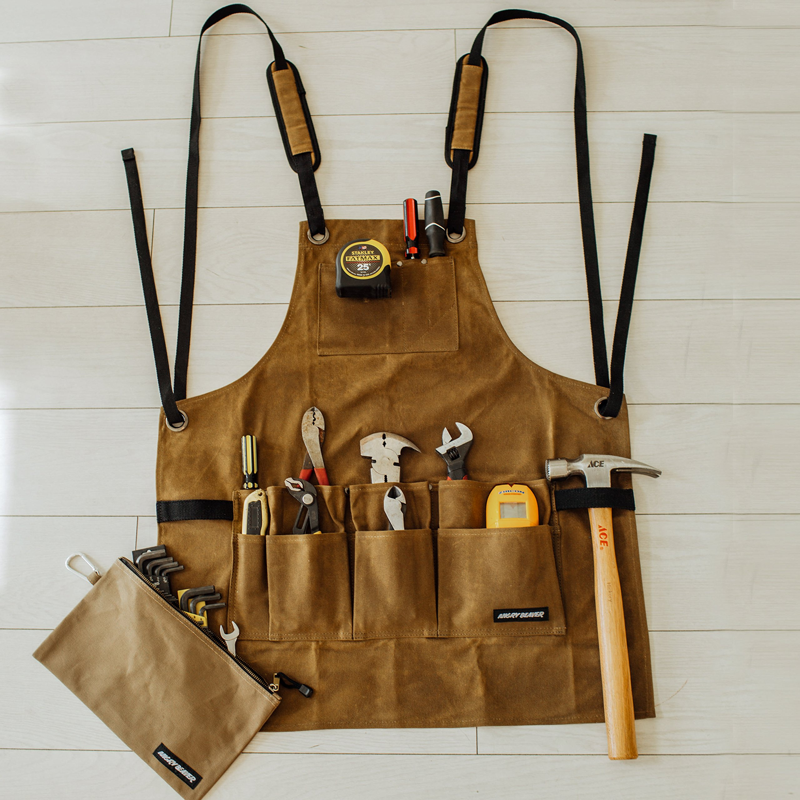 Work Shop Apron by Angry Beaver   BONUS Canvas Zipper Tool Pouch   Heavy Duty Utility Waxed Canvas Bib Apron with Tool and Chest Pockets   Tool Apron Cross-Back Straps & Adjustable M to XXL by Angry Beaver (Image #2)