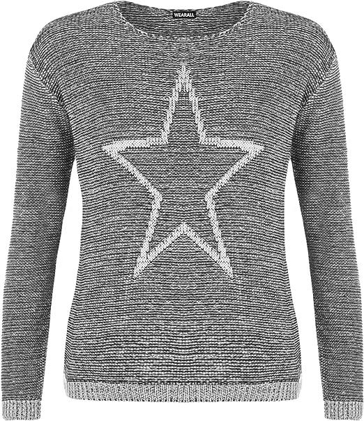 WearAll - Damen Gestrickt Star Muster Lang Hülle Runde Hals Pullover ...