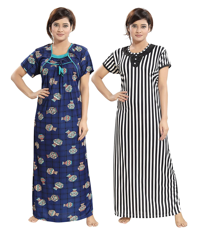 f292f8ba16 TUCUTE Women Girls Beautiful Pot Design on Denim Print Base+ Bold Line  Print Nighty Night Gown Nightwear (Pack of 2) XL-40 XXL-44 Smart Combo ...