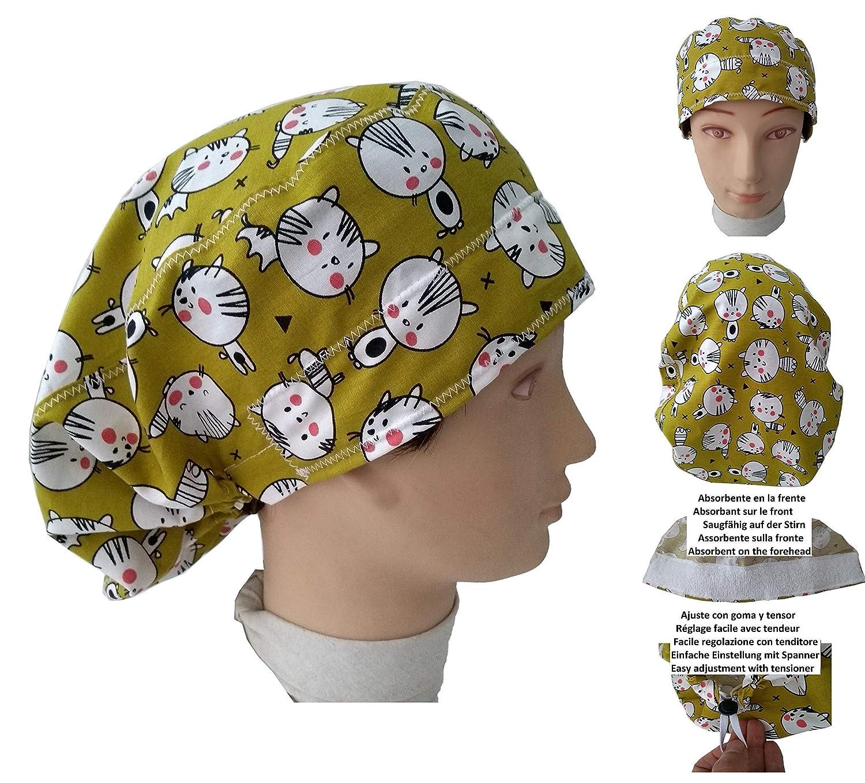 Gorro quirófano GATITOS para pelo largo, Veterinaria, Enfermera, Dentista, Cocina Toalla en la frente, ajustable fácil con tensor y goma