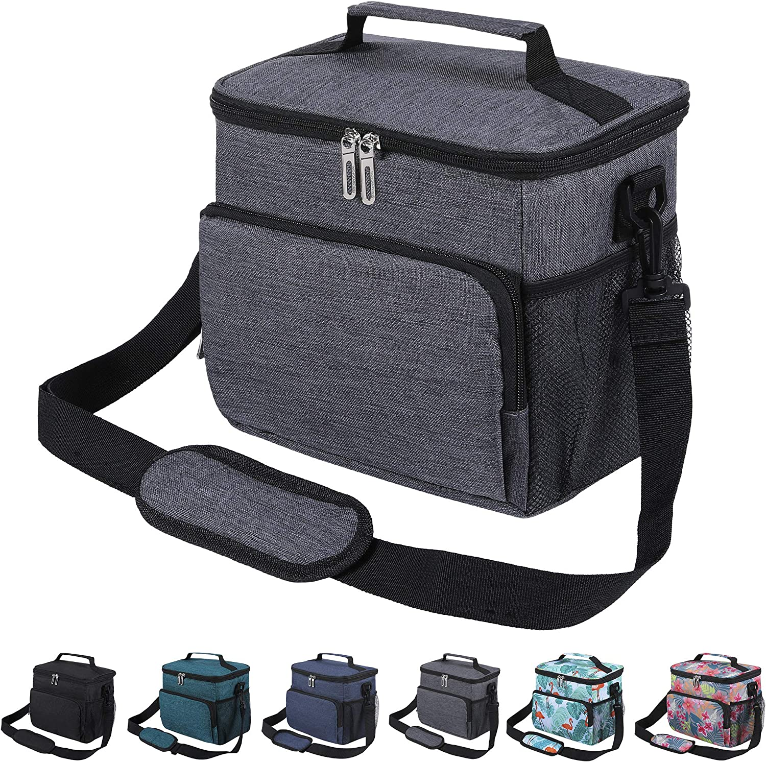 Insulated Lunch Bag for Women Men Adult, Leakproof Lunch Box for Office Work School Cooler Tote Bag with Adjustable Shoulder Strap for Kids, Dark Gray