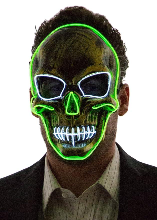 Máscara de calavera con luz neón led verde