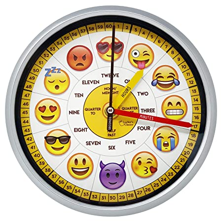 Educational Wall Clock – Silent Movement Time Teaching Clock for Teacher s Classrooms and Kid s Bedrooms Emoji