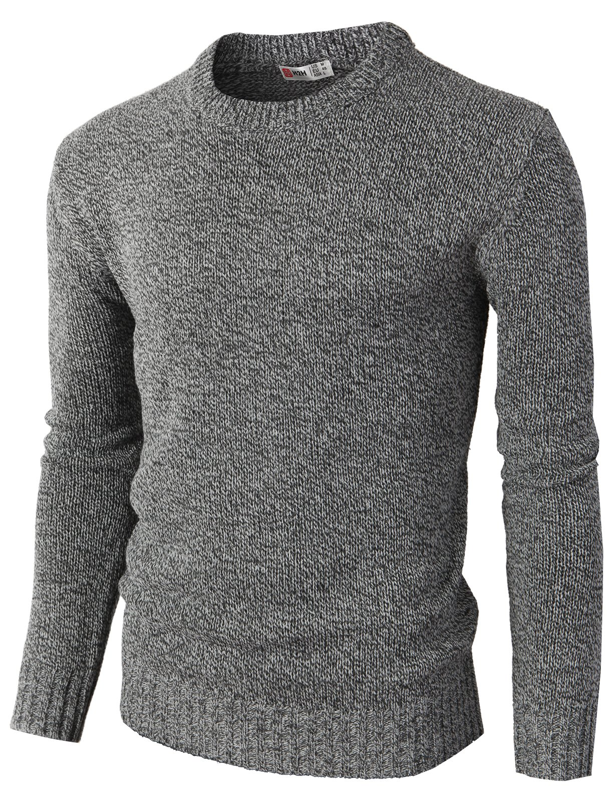 H2H Men's Perfect Slim Fit V-Neck Sweater Charcoal US M/Asia L (KMOSWL0122)