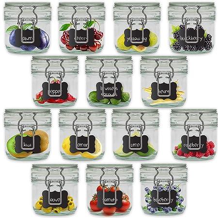 Creative Home 14 x Tarros de Cristal Herméticos con Tapa | 14 x ...