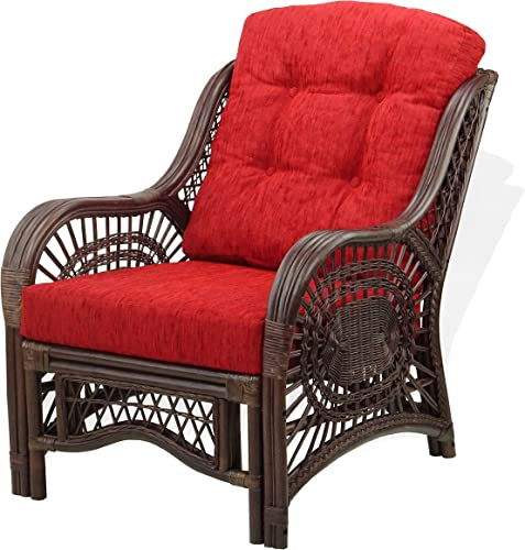 Lounge Malibu Armchair ECO Natural Rattan Wicker Handmade Design with Burgundy Cushion, Dark Brown