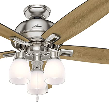 Hunter Fan 52 inch Ceiling Fan with Three-light Fitter and Clear Frosted Glass in Brushed Nickel Renewed Brushed Nickel